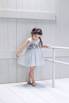 Nellystella Blossom Dress in Artic Ice – The Girls @ Los Altos Little Dresses, Little Girl Dresses, Girls Dresses, Flower Girl Dresses, Look Fashion, Kids Fashion, Little Girl Fashion, Kind Mode, Baby Dress
