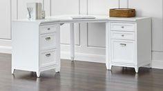 Harrison White Corner Desk Cabinet Suite - Crate and Barrel Small Home Office Furniture, Modern Home Office Desk, Modern Home Offices, Desk Office, Modular Office, Small Office, White Desk With Drawers, White Corner Desk, White Parsons Desk