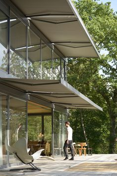 Integration of awnings into building is brilliant