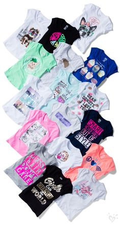 Stock up on the essentials with our selection of girls' basic tops & tanks. From long sleeves to short - find simple styles that are perfect for layering at Justice. Kids Outfits Girls, Cute Girl Outfits, Tween Girls, Shirts For Girls, Cool Outfits, Summer Outfits, Fashion Kids, Girls Fashion Clothes, Justice Girls Clothes