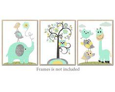 Kids Wall Art, Canvas Nursery Art Print Elephant Nursery Giraffe Nursery Children Wall Art Baby Room Decor set of 3 mint Gray Yellow /