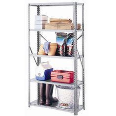 Online $19.97 Space Solutions - Galvanized Steel 5-Shelf Unit. Walmart No.:	001162875.   Will hold up to 300 lbs. of evenly-distributed weight  Rust-resistant galvanized steel with bolt assembly.  Measures: 30''W x 12''D x 59''H. Pool shed