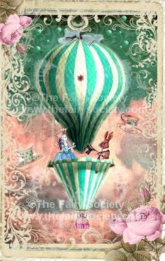 """Alice In Wonderland Tea Party. """"In The Sky"""" fabric block for appliqué, such as the front panel on a hat Alice Tea Party, Alice In Wonderland Tea Party, Air Ballon, Hot Air Balloon, Balloon Party, Etiquette Vintage, Mad Hatter Tea, Collage Art, Vintage Art"""
