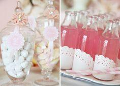 Vintage Doily Inspired Dessert Table -- doilies on bottles