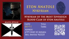 Nykyrian's Andarion ID card
