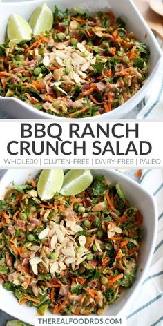 Bbq Ranch Chopped Salad With Brussels Sprouts and Kale Salad Gluten-Free Salad Dairy-Free Salad Paleo Salad Recipe Healthy Salad Recipe Delicious Salad Recipe The Real Food Dietitians recipe indian Paleo Salad Recipes, Real Food Recipes, Healthy Recipes, Paleo Food, Paleo Meals, Cooking Recipes, Delicious Salad Recipes, Salad Master Recipes, Paleo Pasta