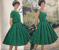1958 Jonathan Logan Dress green full skirt pleated late 50s