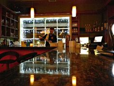 The bar at Il Gallo Giallo Wine Bar in New Paltz, NY
