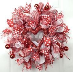 Deco Mesh Valentine Wreath Red White Funky by SouthernCharmWreaths