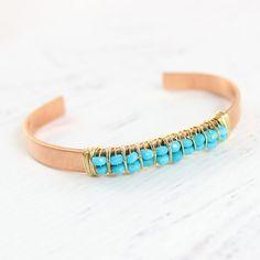 Turquoise Gemstone Cuff Bracelet