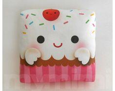 Decorative Pillow Cupcake Pillow Rainbow Sprinkles by mymimi