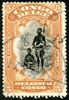 """Belgian Congo 1915 Scott 58 ocher & black """"Bangala Chief and Wife"""" Old Stamps, Rare Stamps, Vintage Stamps, Vintage Art, Vintage World Maps, Congo Belga, Congo Free State, Belgian Congo, Art And Hobby"""