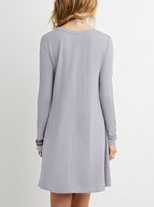 Casual Grey Shift Long Sleeve Dress. This is kind of cute~