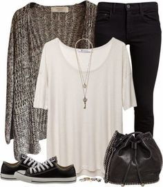 Grey Jacket,White Shirt, Simple Black Pants, Black Hand Bag And Sport Shoes | Street Fashion