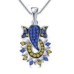 "Round Cut Sapphire 14K White Gold Plated Unisex Ganpati Bappa Pendant 18""Chain…"