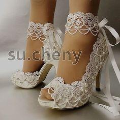 """3"""" 4"""" heel white ivory satin lace ribbon open toe Wedding shoes bride size 5-9.5"""