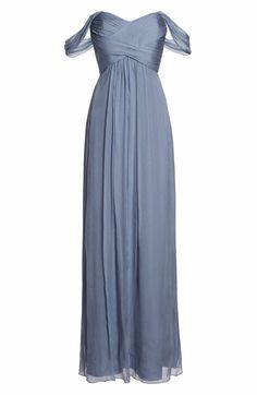 Main Image - Amsale Convertible Crinkled Silk Chiffon Gown