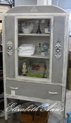 ASCP Paris Gray and Pure White. Lovely cabinet painted with Annie Sloan Chalk Paint.