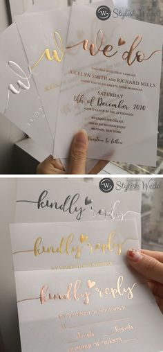 Which foil color do you like better? We have sliver, gold, rose gold, they are fabulous. Acrylic Wedding Invitations, Wedding Envelopes, Wedding Cards, Diy Wedding, Gown Wedding, Wedding Things, Wedding Ceremony, Dream Wedding, Spring Wedding Invitations