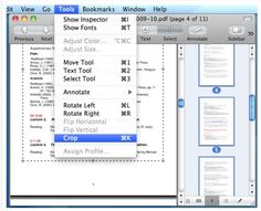 Crop multiple pages of a PDF in Preview in Mac OS. Good for cropping PDFs to read in Kindle!