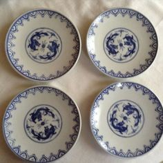 Set of four Pier One Imports Vintage Dragon Plates-great for sushi in blue and w #PierOne