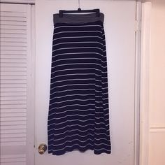Old Navy, black and white striped Maxi skirt. Worn 3 or 4 times. Great condition.. Old Navy Skirts Maxi