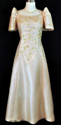 Mestiza Gown - Barongs R us Filipiniana Wedding, Filipiniana Dress, Long A Line Skirt, A Line Skirts, Line Shopping, Gowns, Suits, Stylish, Pretty