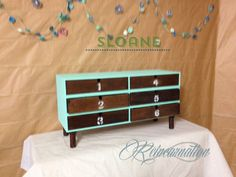 Turquoise 6 drawer craft/makeup/office/small by ReincarnationLLC  #turquoise #refinished #numbereddrawers #paintedfurniture #salvage #upcycled #etsy #organize