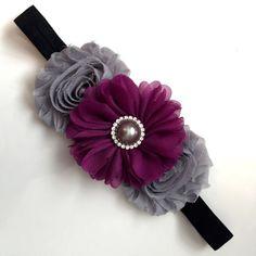 Purple and Grey Headband Gray and Purple Flower by PlumesandBloomz