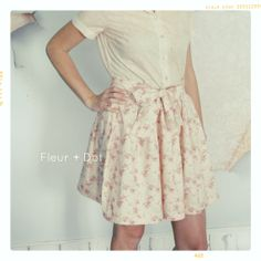 WOMENS English Tea Rose Extra Full Skirt with Sash by FleurandDot, $84.00
