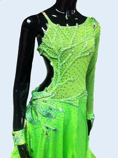 Ballroom Dance Dress of Light Green Color by DesignByNatasha, $2219.00