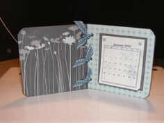 desk calendar made with 4x4 chipboard squares and papers/ribbon from Stampin' Up!