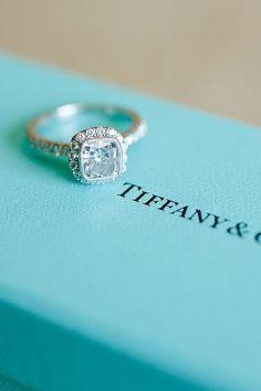 Tiffany's princess cut vintage wedding engagement rings / http://www.deerpearlflowers.com/20-most-loved-cushion-cut-engagement-rings/2/