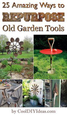 25 Amazing Ways to Repurpose Old Garden Tools - #repurposed #upcycled #DIY