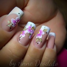 Flower Nail Designs, Nail Art Designs, Purple Acrylic Nails, Elegant Nail Art, Cute Spring Nails, Easter Nails, Great Nails, Flower Nails, Nail Trends