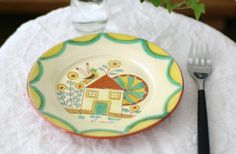 ポルトガルの手描きの平皿 小鳥×花と家A    #bird #Portugal #plate #tableware #torimizuki Portugal, Decorative Plates, Tableware, Home Decor, Dinnerware, Decoration Home, Room Decor, Tablewares, Dishes