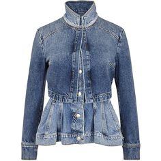 Alexander McQueen Blue peplum denim jacket ($1,600) ❤ liked on Polyvore featuring outerwear, jackets, alexander mcqueen, distressed denim jacket, blue denim jacket, distressed jean jacket and cotton jacket