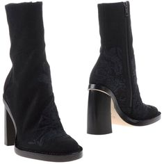 Ann Demeulemeester Ankle Boots (23.475 RUB) ❤ liked on Polyvore featuring shoes, boots, ankle booties, black, zip boots, embroidered boots, zip ankle boots, black ankle bootie and black zipper booties
