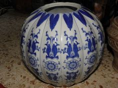 Antique Porcelain China Large Bowl Blue Cobalt White Mandarin Shape Rare