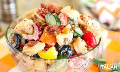 Skinny Body Care Tips: Bacon Ranch Tortellini Salad. Bacon Ranch Pasta Salad, Pasta Salad With Tortellini, Orzo, Fun Easy Recipes, Real Food Recipes, Cooking Recipes, Yummy Food, Summer Recipes, Main Dish Salads