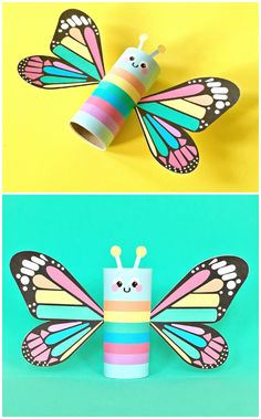 """Rainbow Butterfly Paper Tube Kids Craft with Free Printables. Print this colorful design for a happy spring project for kids or there's a also a blank """"color in"""" option to design your own!  - repinned by @PediaStaff – Please Visit ht.ly/63sNtfor all our pediatric therapy pins"""