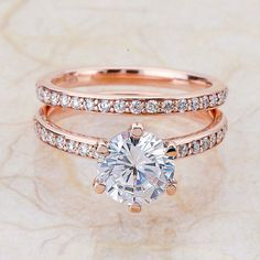 14k Rose Gold Engagement Set With A 8mm White by EJCOLLECTIONS
