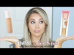 Split Face Wear Test | FENTY vs TOO FACED Peach Perfect Foundations - YouTube