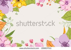 Hand painted pink garden flowers - stock photo