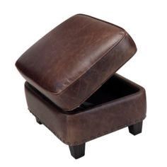 Best Leather Chairs and Ottomans | Bradford Chair and Ottoman - Antique Brown Leather