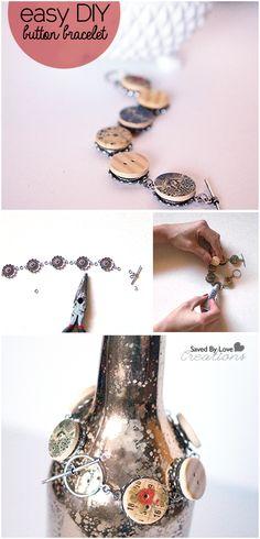 Make an easy vintage button Bracelet @savedbyloves