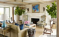 In the living room, Bashaw mixed natural textures with pops of color for an eclectic and relaxed ambience.