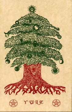 a Yule Tree for Winter Solstice - Pagan Christmas, Christmas History, Christmas Art, Winter Christmas, Winter Holidays, Happy Holidays, Vintage Christmas, Woodland Christmas, Handmade Christmas