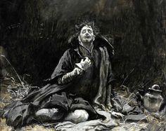 "Edwin Austin Abbey (1852-1911), Malvolio in the dungeon (""The Twelfth Night"", Act III, Scene IV) - 1891"