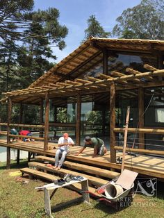 Pergola Kits With Canopy Cabin Homes, Cottage Homes, Log Homes, Rest House, House In The Woods, Bamboo House Design, Bamboo Architecture, House On Stilts, Cabins And Cottages